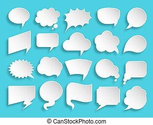 carta, taglio, set, etichetta, bolla, messaggio, discorso, icona, comico