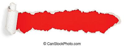 carta, testata, buco, strappato, rosso