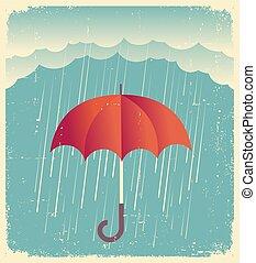 carta, umbrella., pioggia, vecchio, nubi, rosso, manifesto, vendemmia