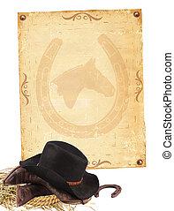 carta, vecchio, fondo, isolato, cowboy, occidentale, vestiti