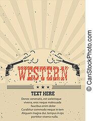carta, vecchio, illustrazione, guns., vettore, cowboy, manifesto, occidentale