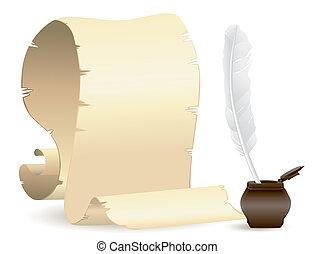 carta, vecchio, penna, inchiostro