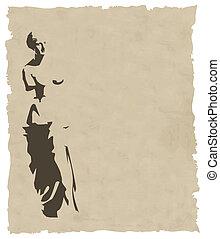 carta, vecchio, venere, vettore, silhouette