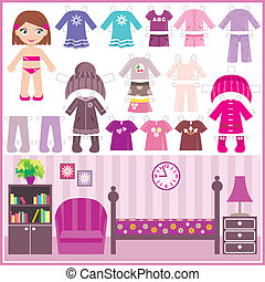carta, vestiti, set, bambola