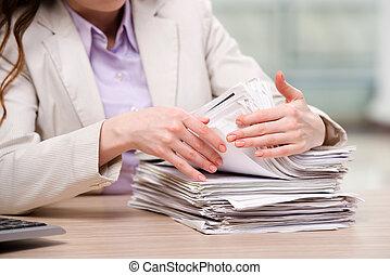 carte, donna d'affari, pila, lavorativo