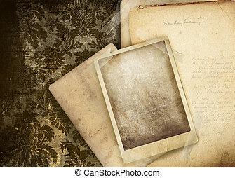 carte, vecchio, fondo, floreale, vendemmia