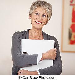 cartella, bianco, donna, anziano, sorridente