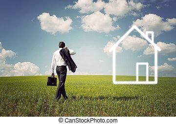 cartella blu, casa, zona cielo, verde, spazioso, va, completo, uomo affari