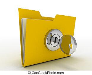 cartella, chiave calcolatore, illustrazione, 3d