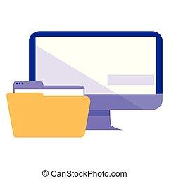 cartella, documento, monitor, desktop