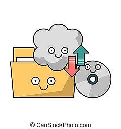 cartella, rom cd, nuvola, calcolare