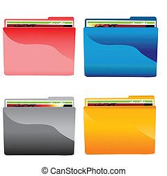 cartella, set, file, colorito, icona