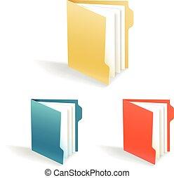 cartelle, differente, ufficio, colorare, isolato, collezione, bianco
