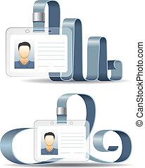cartelle, distintivo, supporto, id, o
