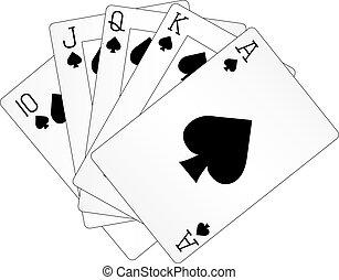 cartelle, gioco, mano, poker, reale, rossore diritto