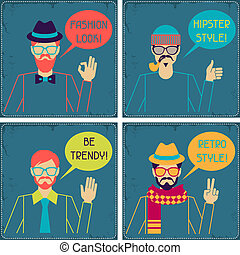 cartelle, hipster, retro, style.