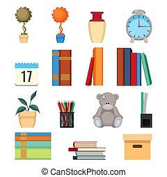 cartelle, set, accatastato, illustration., ufficio, libri, accessori, vettore