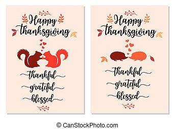 cartelle, set, ringraziamento, scoiattoli, ricci, vettore, carino
