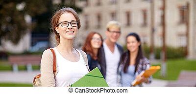 cartelle, studenti, adolescente, scuola, felice