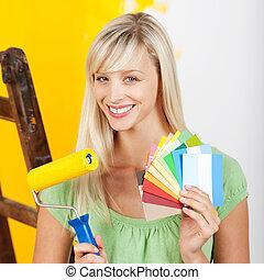 cartelle, vernice, donna, spazzola, rullo