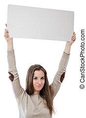 cartellone, isolato, scrittura, fondo, ragazza, bianco