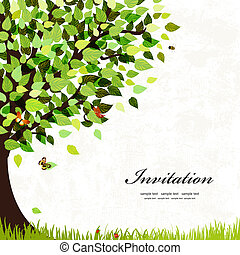 cartolina, albero, disegno