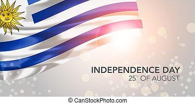 cartolina auguri, vettore, indipendenza, felice, giorno, bandiera, uruguay