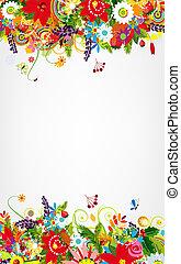 cartolina, testo, disegno, floreale, posto, tuo