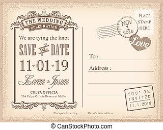 cartolina, vendemmia, invito, fondo, matrimonio, data, risparmiare