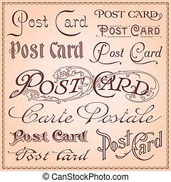 cartolina, vendemmia, letterings