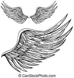 cartone animato, ala angelo