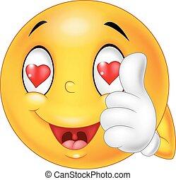 cartone animato, amore, faccia, smiley
