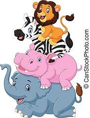 cartone animato, animale, divertente, standing