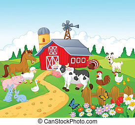 cartone animato, animale, fondo, fattoria