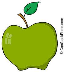 cartone animato, aplle, verde