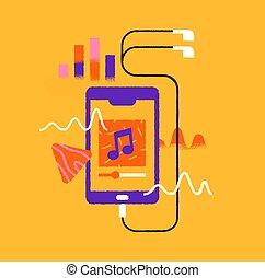 cartone animato, app, cuffie, musica, isolato, telefono