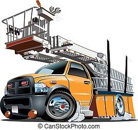 cartone animato, ascensore, camion, piattaforma