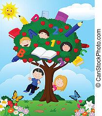 cartone animato, bambini giocando, appl