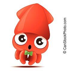 cartone animato, bowtie, carino, verde, mascotte, vettore, carattere, -, calamaro