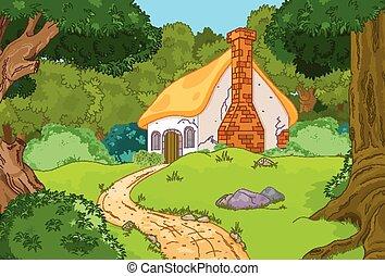 cartone animato, cabina, foresta
