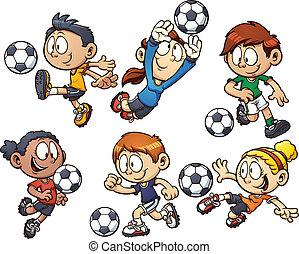cartone animato, calcio, bambini