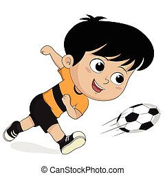 cartone animato, calcio, kids.