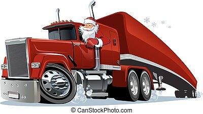 cartone animato, camion, retro, natale