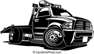 cartone animato, camion, rimorchio