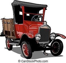 cartone animato, camion, vettore, retro