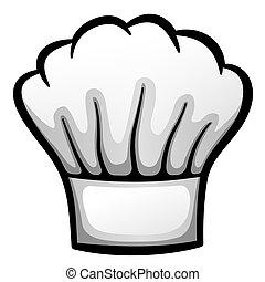 cartone animato, cappello, vettore, ristorante, chef