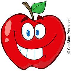 cartone animato, carattere, mela, mascotte