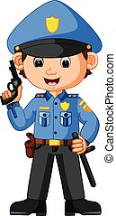 cartone animato, carino, poliziotto