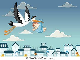 cartone animato, cicogna