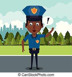 cartone animato, città, poliziotto